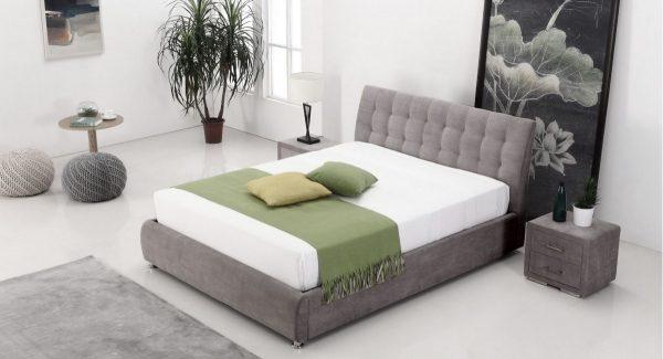 מיטה זוגית melani עם ארגז מצעים מרופדת בד בגוון אפור מותאמת למזרן 140*190 160*200